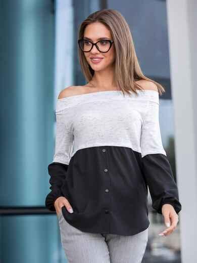 Блузка белого цвета с открытыми плечами 40101, фото 1