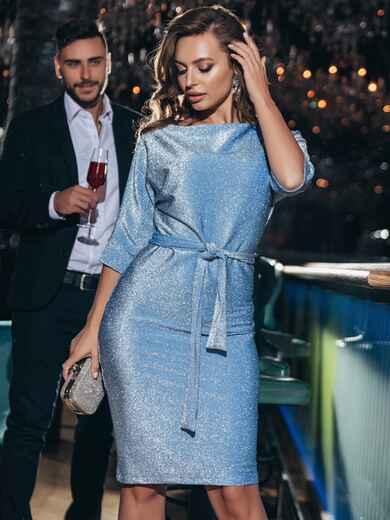 Платье из люрекса с цельнокроеным рукавом голубое 42759, фото 1