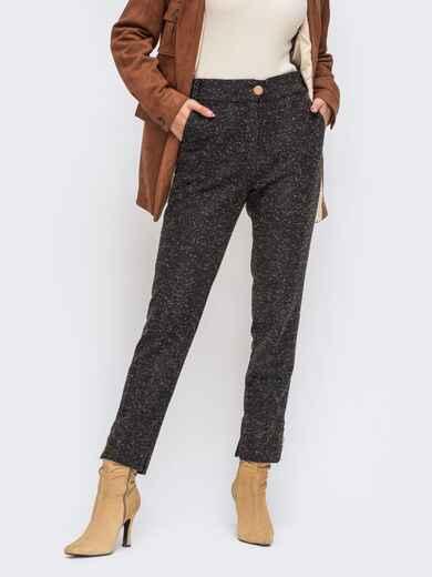 Укороченные брюки из твида со стандартной посадкой чёрные 50573, фото 1