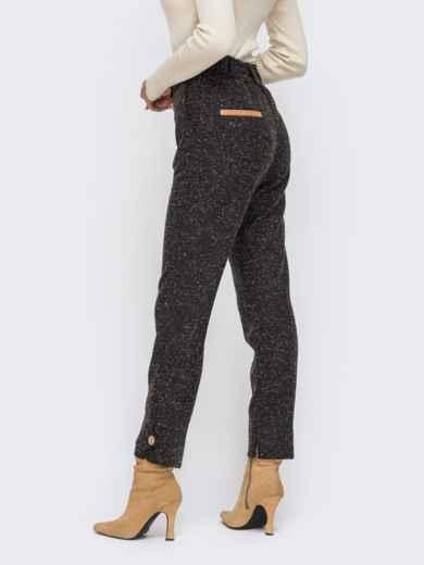Укороченные брюки из твида со стандартной посадкой чёрные 50573, фото 2