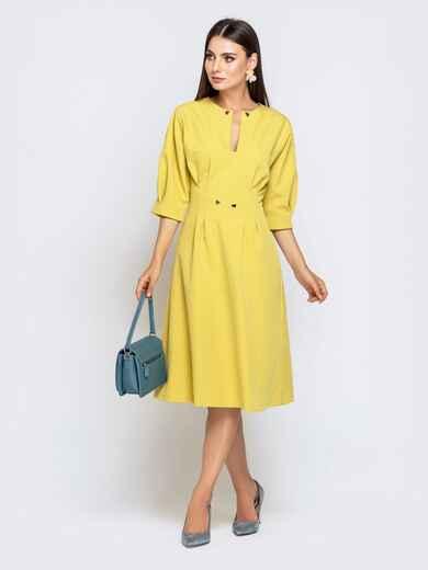 Желтое платье приталенного кроя с объёмным рукавом 40470, фото 1