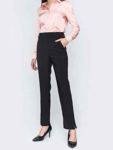 Чёрные брюки на резинке с завышенной талией 45807, фото 1