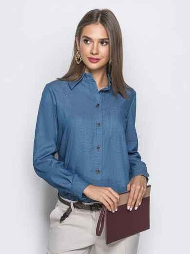 Классическая рубашка с удлиненной спинкой синяя 39793, фото 1