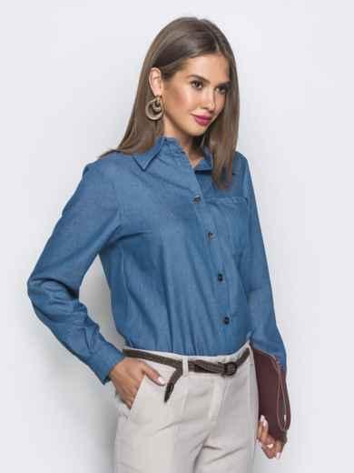 Классическая рубашка с удлиненной спинкой синяя 39793, фото 2