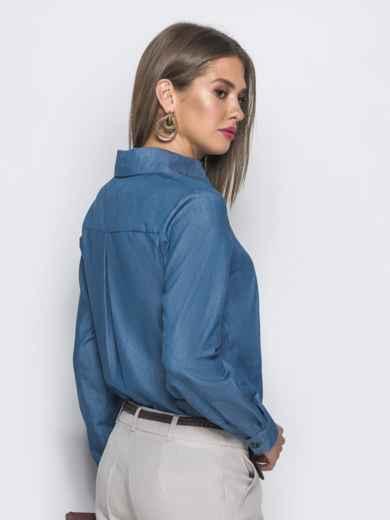 Классическая рубашка с удлиненной спинкой синяя 39793, фото 3