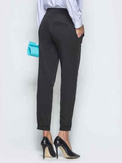 Укороченные брюки с резинкой по талии чёрные 39780, фото 3