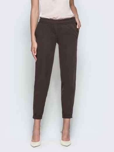 Укороченные брюки с резинкой по талии коричневые 39781, фото 2