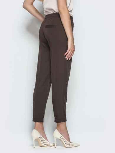 Укороченные брюки с резинкой по талии коричневые 39781, фото 3