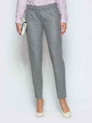 Зауженные брюки в полоску с резинкой по талии серые 39782, фото 1