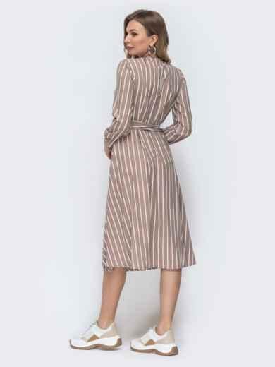 Бежевое платье на запах в полоску 45541, фото 2
