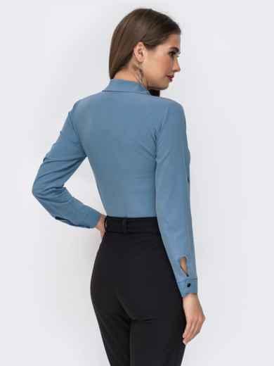Блузка голубого цвета со шлевками на рукавах 42480, фото 2