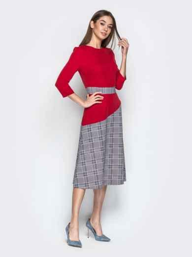 Красное платье приталенного кроя с контрастными вставками 21333, фото 2