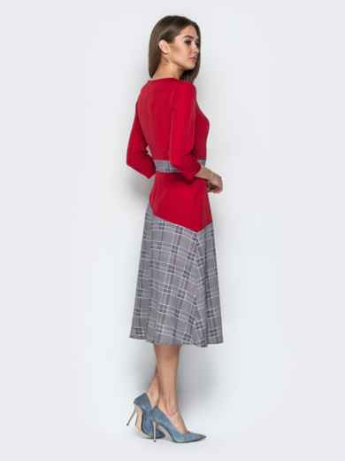 Красное платье приталенного кроя с контрастными вставками 21333, фото 3