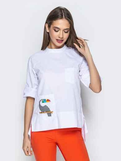 """Рубашка с нашивкой """"тукан"""" и рукавом-реглан белая 22193, фото 1"""