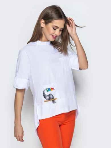 """Рубашка с нашивкой """"тукан"""" и рукавом-реглан белая 22193, фото 2"""