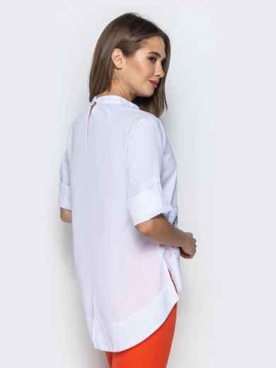 """Рубашка с нашивкой """"тукан"""" и рукавом-реглан белая 22193, фото 3"""