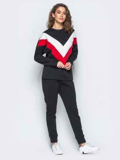 Спортивные штаны черного цвета на флисе 17371, фото 4
