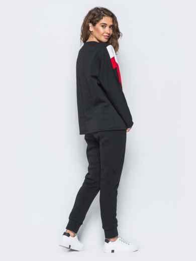 Спортивные штаны черного цвета на флисе 17371, фото 5