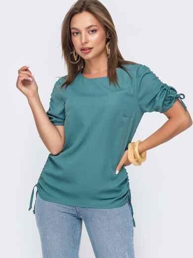 Бирюзовая блузка прямого кроя с кулиской по бокам 49114, фото 1