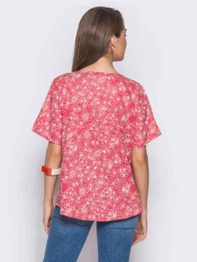 Красная блузка с цветочным принтом 12037, фото 3