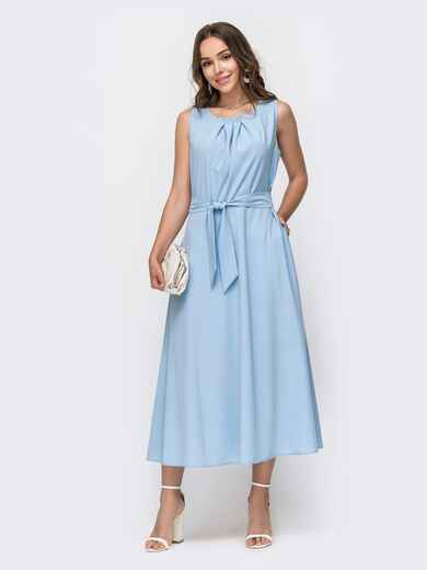 Голубое платье с расклешенной юбкой - 49151, фото 1 – интернет-магазин Dressa