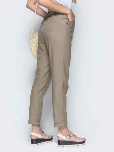 Спортивные штаны с завышеной талией на резинке бежевые 21855, фото 3