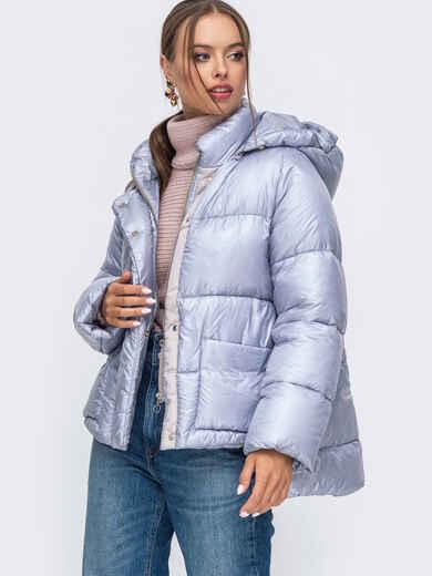 Зимняя куртка с воротником-стойкой и капюшоном голубая 50222, фото 1