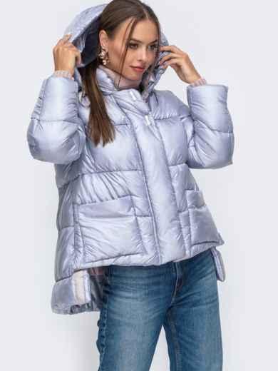 Зимняя куртка с воротником-стойкой и капюшоном голубая 50222, фото 3