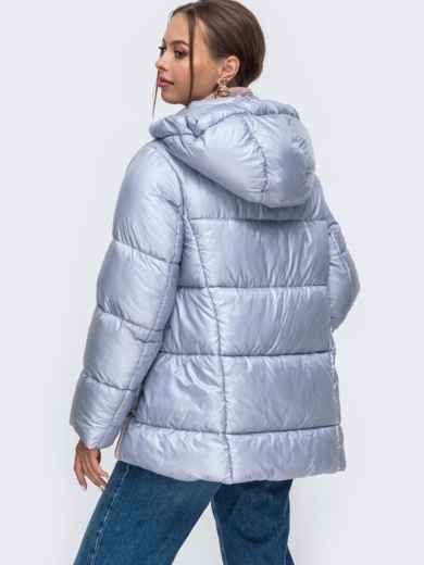 Зимняя куртка с воротником-стойкой и капюшоном голубая 50222, фото 4