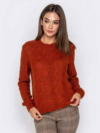 Ажурный свитер с резинкой на манжетах терракотовый 41173, фото 1