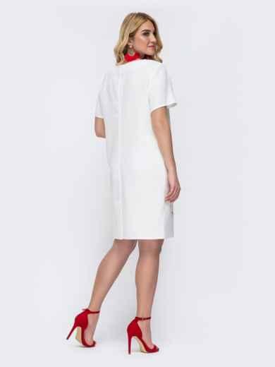 Белое платье батал приталенного кроя с принтом 49058, фото 2