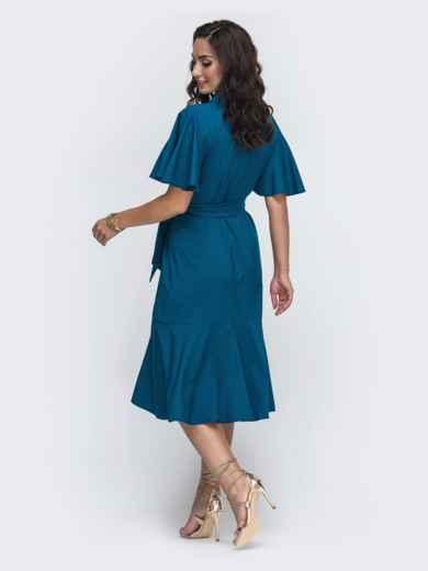 Синее платье батал на запах с воланом по низу 49951, фото 2