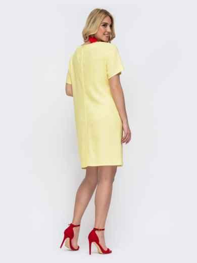 Жёлтое платье батал приталенного кроя с принтом 49059, фото 2