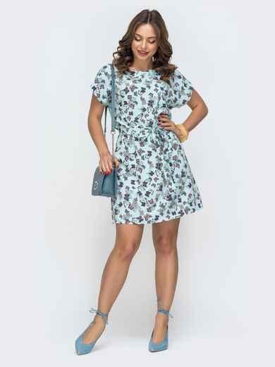 Бирюзовое платье-мини с принтом бабочки 46923, фото 1