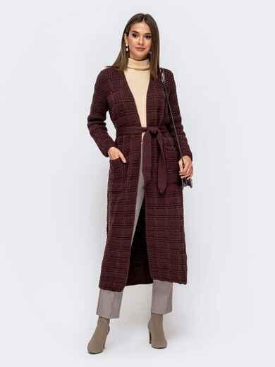 Длинный кардиган с ажурной вязкой и карманами коричневый 41177, фото 1