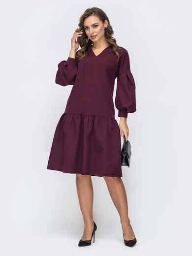 Бордовое платье с v-вырезом и воланом по низу 45088, фото 1