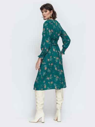 Расклешенное платье с принтом зеленое 45052, фото 2