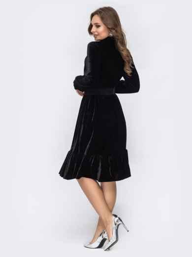 Бархатное платье с воланом по низу чёрное 44091, фото 2