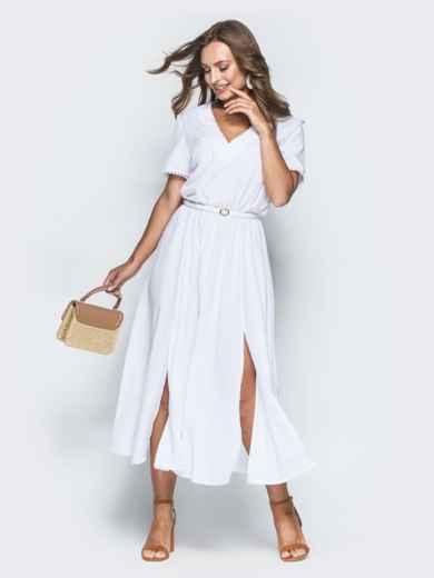 Белое платье с резинкой по талии и разрезами 38929, фото 1