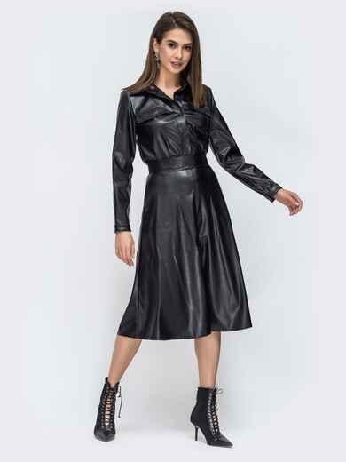 Чёрный комплект из рубашки и юбки из эко-кожи 44944, фото 1
