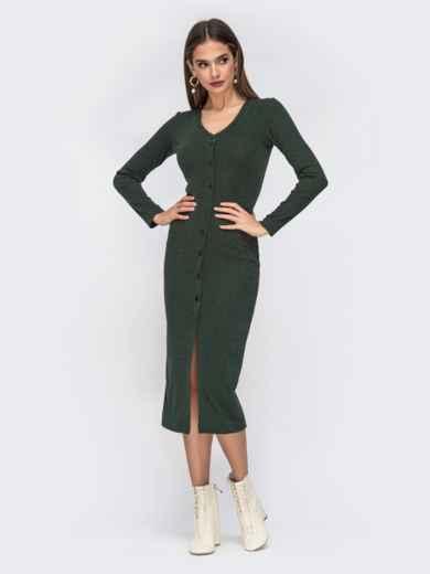 Обтягивающее платье из трикотажа с нитью люрекса зелёное 42218, фото 2