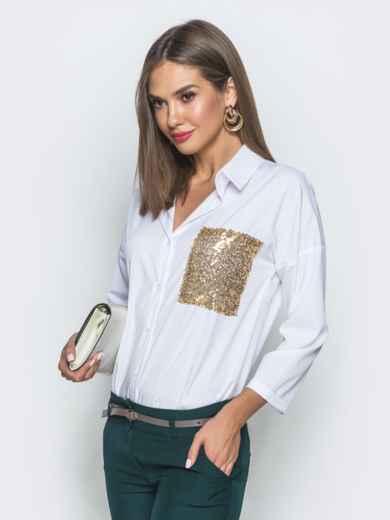 Белая блузка из софта с пайетками 39756, фото 2