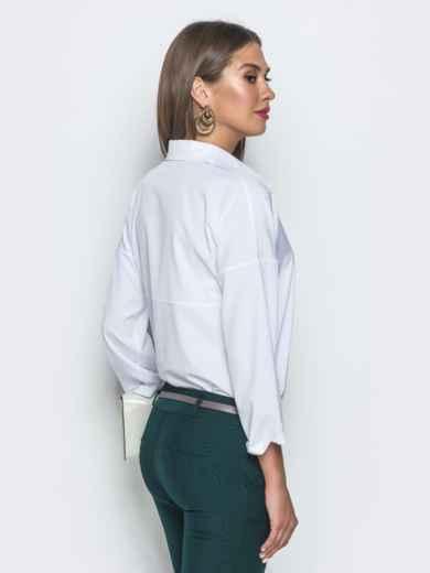 Белая блузка из софта с пайетками 39756, фото 3