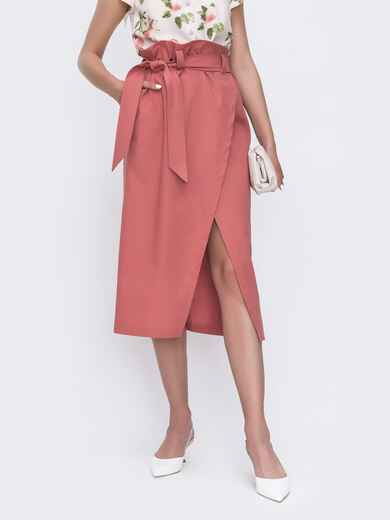 Льняная юбка на запах с завышенной талией розовая 49181, фото 1