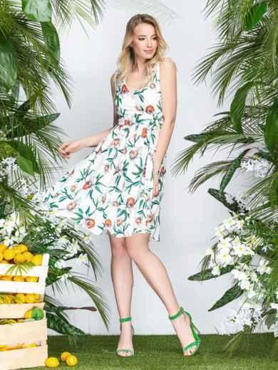 Принтованное платье с лифом на запах розовое белое 21607, фото 1