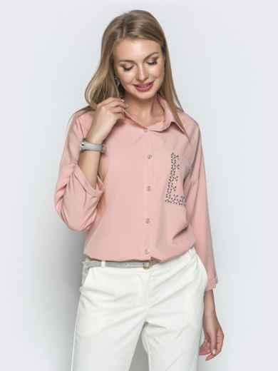 Пудровая блузка со стразами и удлиненной спинкой 39736, фото 2
