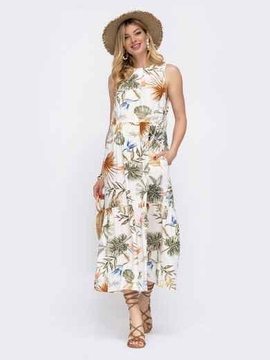 Белое платье свободного кроя с цветочным принтом 48059, фото 1
