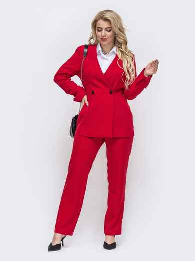 Красный комплект большого размера из жакета и брюк 50935, фото 1