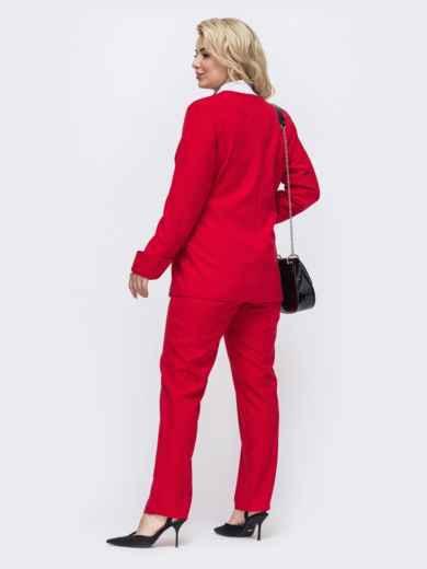 Красный комплект большого размера из жакета и брюк 50935, фото 3