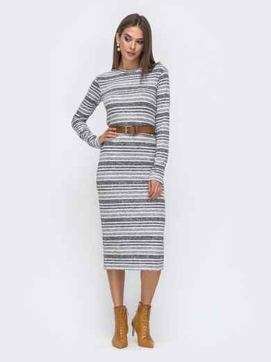 Серое платье-миди из ангоры в полоску 40520, фото 1